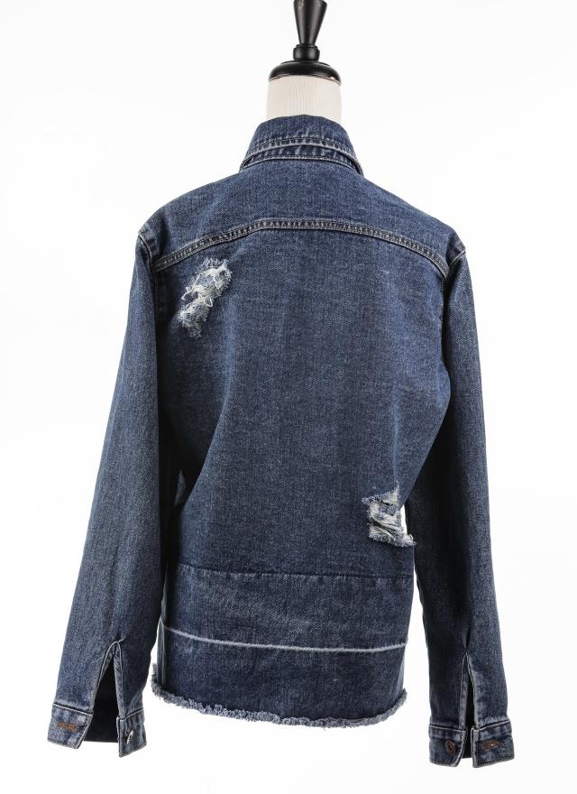 O0167 破壞刷紋層次牛仔外套