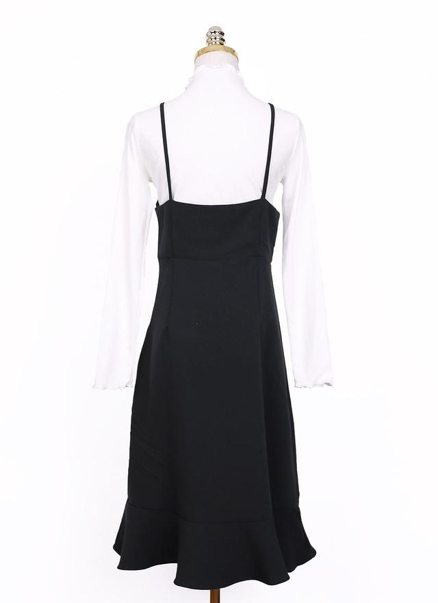 D0525醇黑細肩荷葉擺洋裝