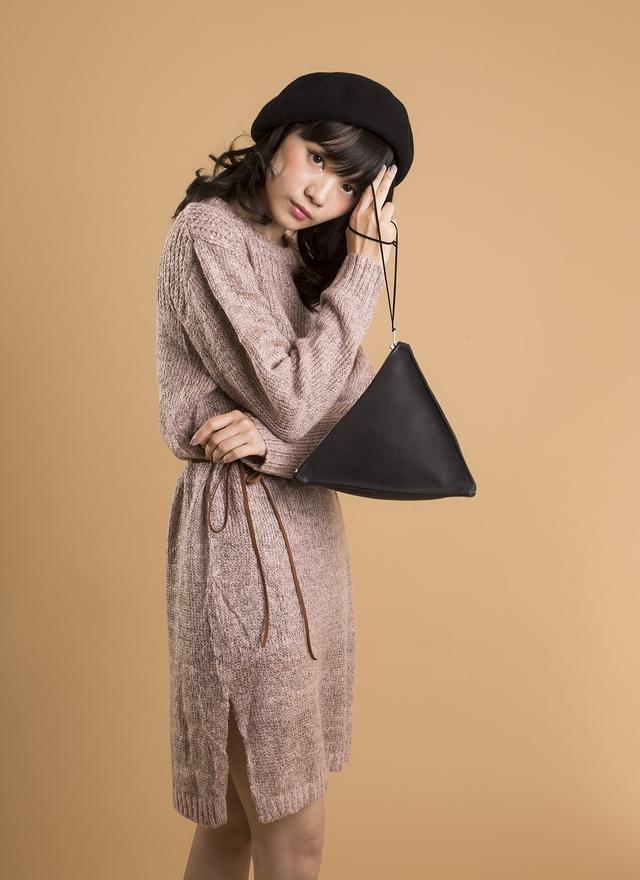 D0259 甜甜粉紫針織洋裝(附腰帶)