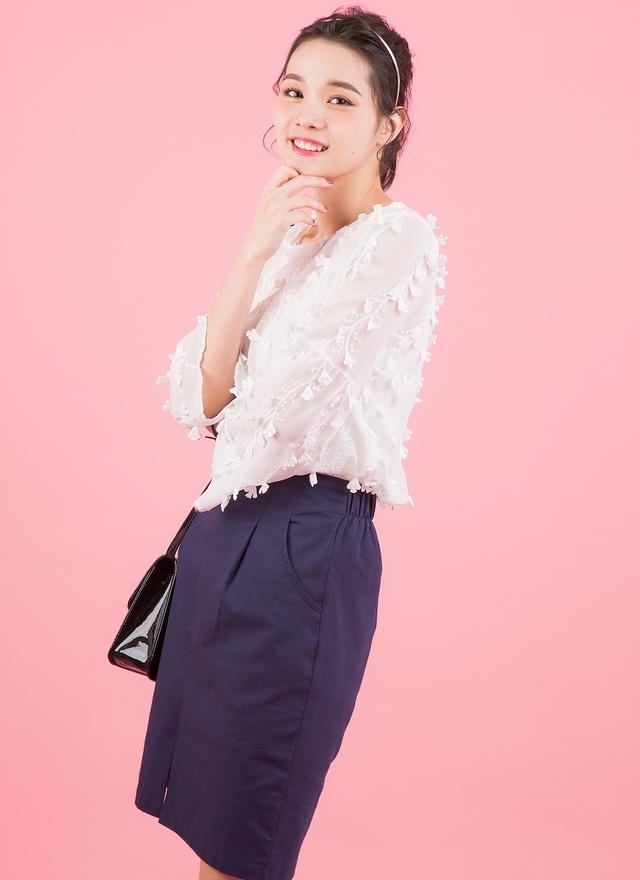 S0323 優雅口袋開衩窄裙