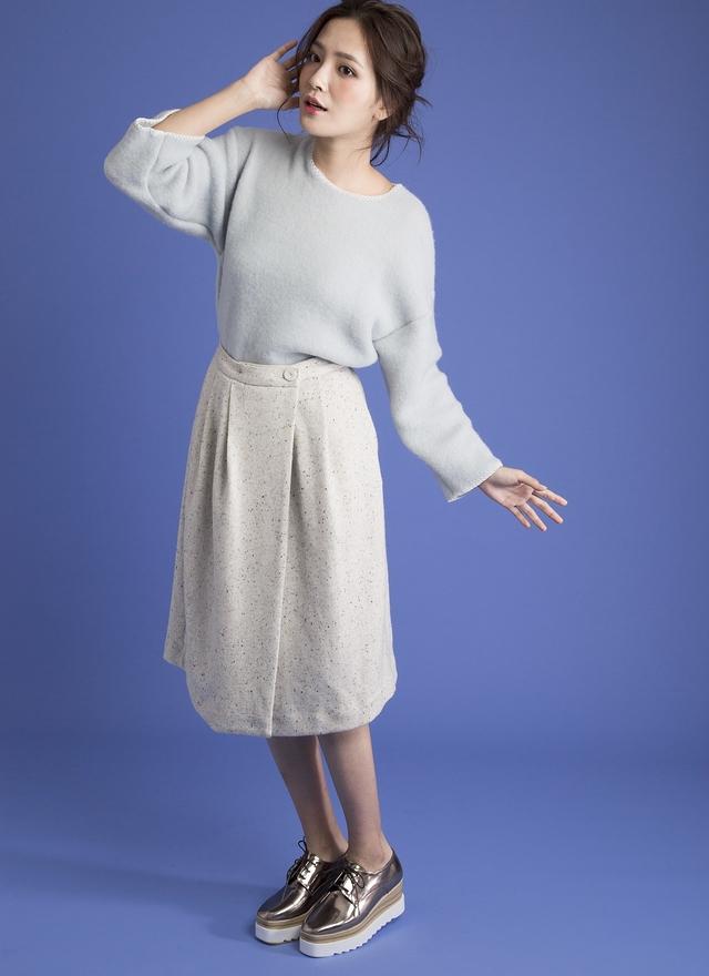 S0261 霓彩混織開衩澎裙