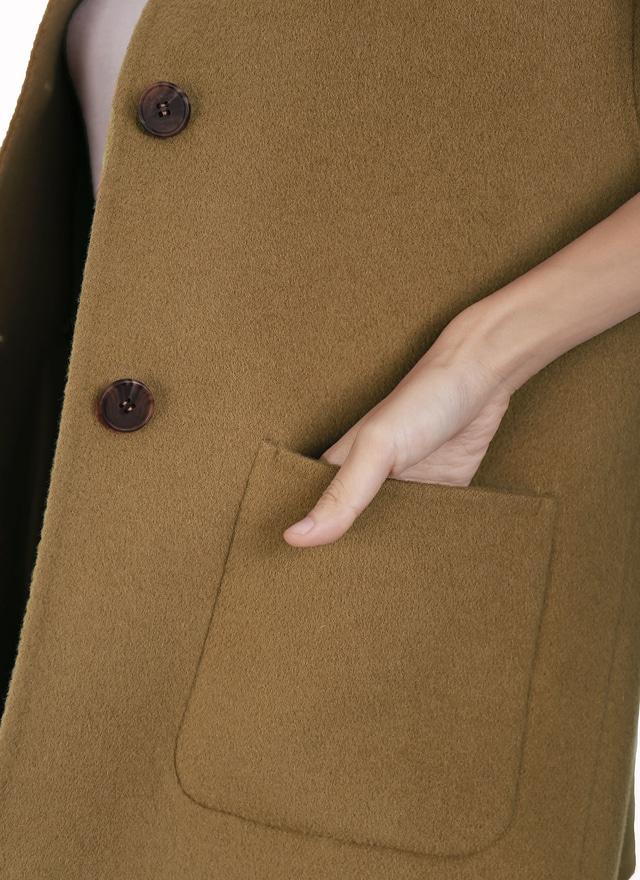 SP卡其色秀雅手工羊毛大衣