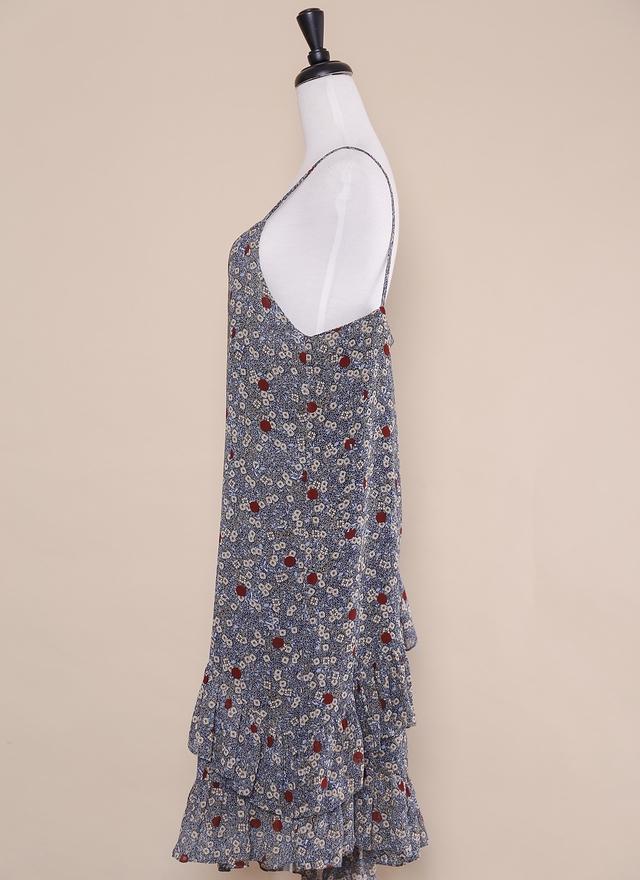 D0415 滿版花紋荷葉擺洋裝