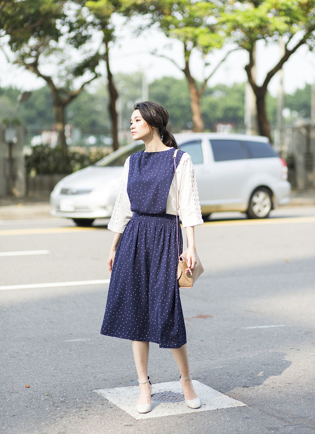 D0226 淑女點點無袖連身洋裝