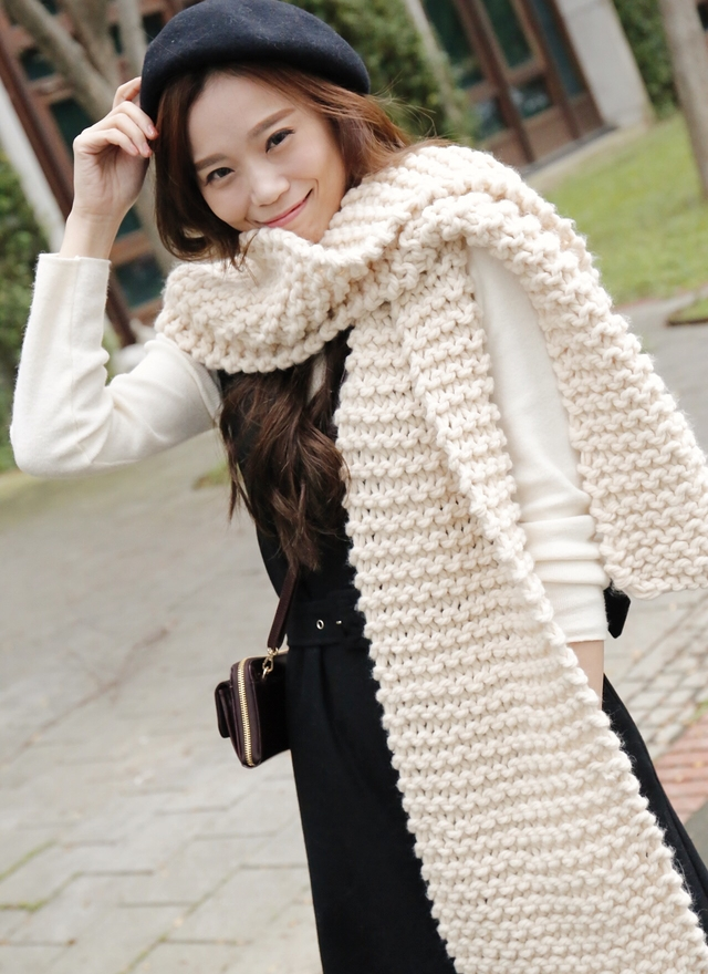A0102 厚粗針勾編織圍巾