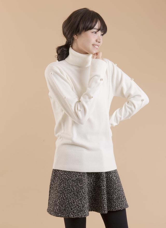 T0386 高領排袖珍珠上衣