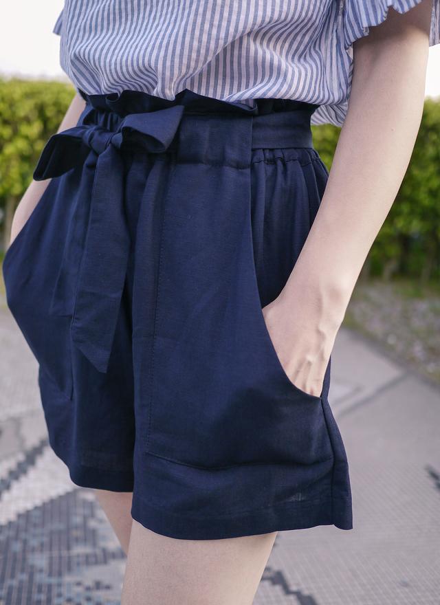 P0114 顯瘦綁腰蝴蝶結寬褲