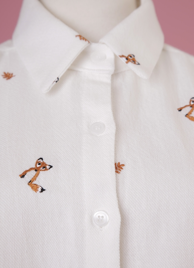 T0483 俏皮狐狸繡線襯衫