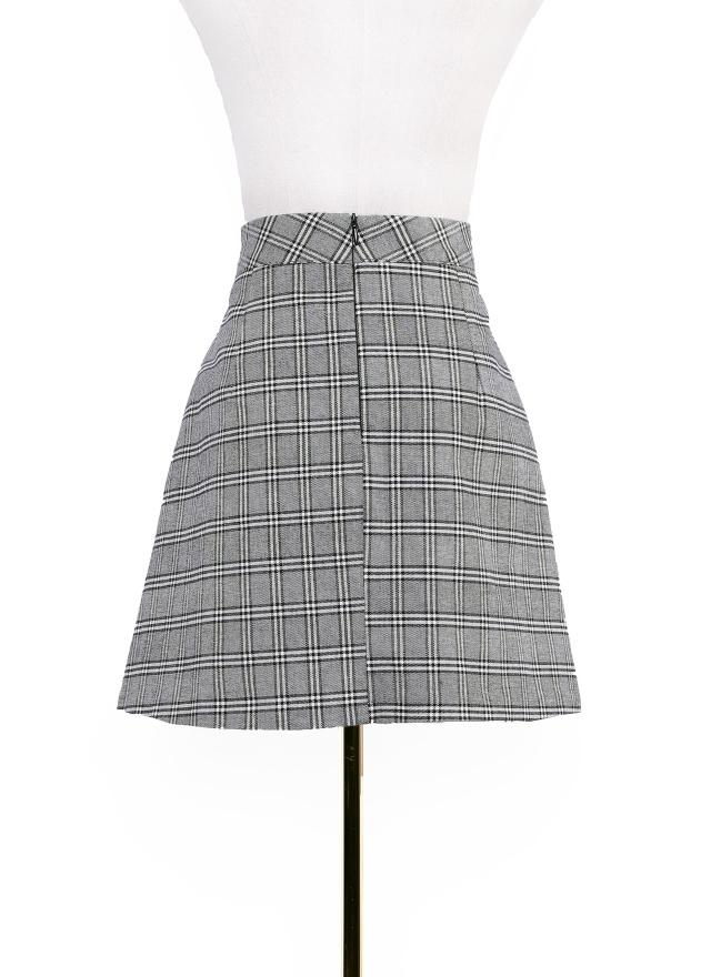 S0611 英倫格紋口袋短裙