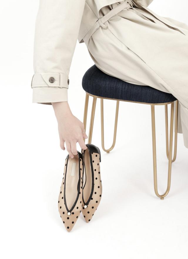 SH0230芮絲珍珠網紗尖頭鞋