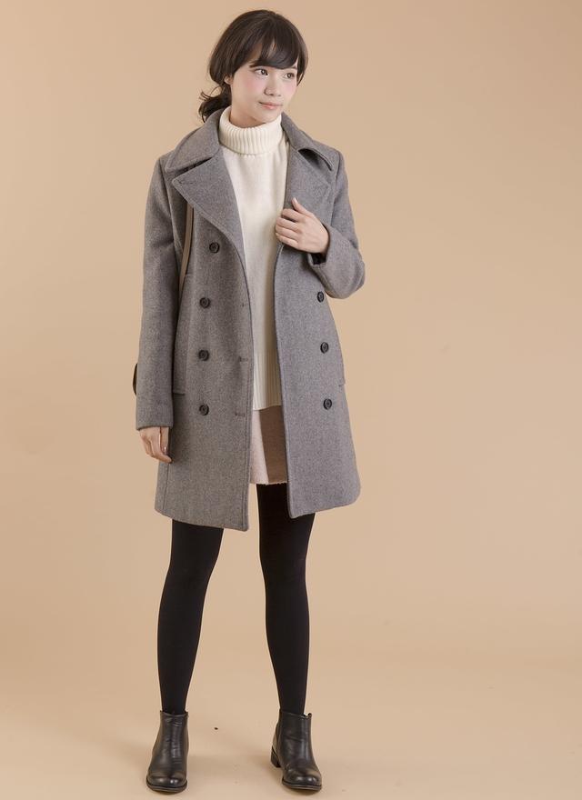 O0142 雙排扣羊毛翻領大衣