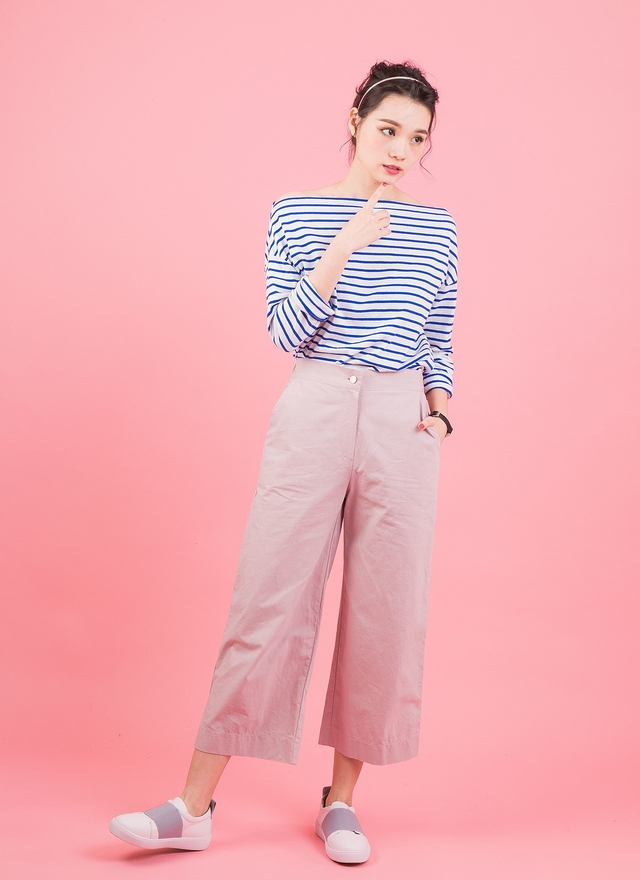 P0130 嫩粉銀釦寬褲