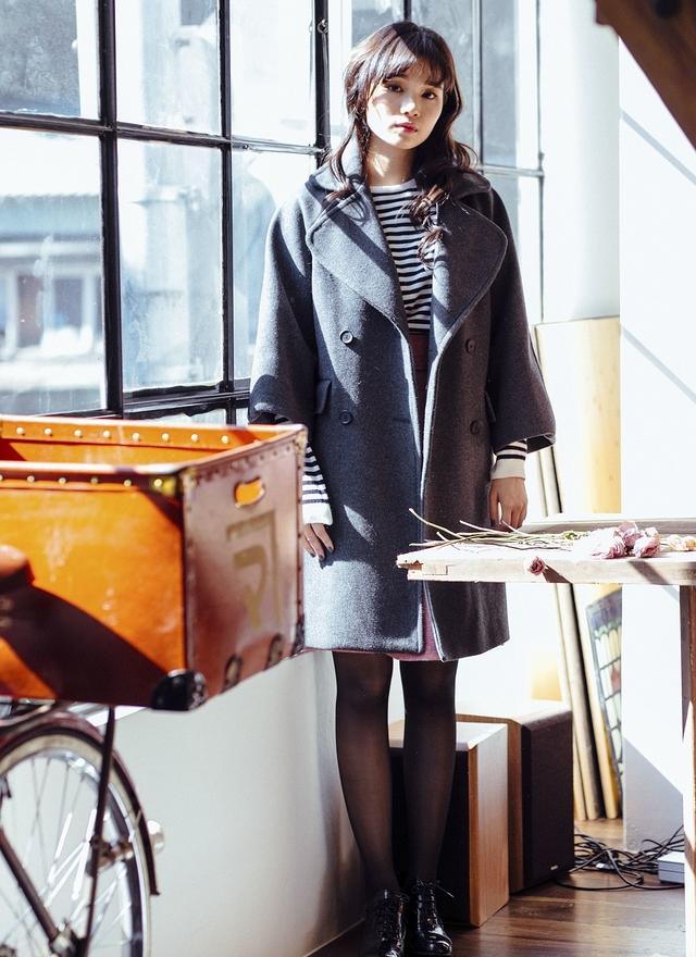 O0181 法式寬袖大翻領大衣