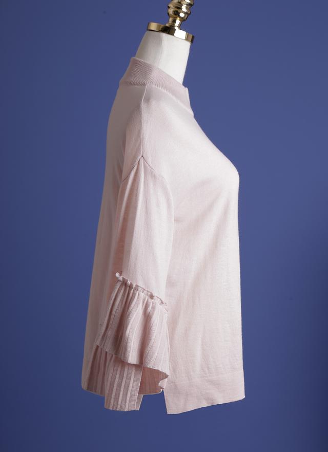 T0343 微領粉織層次袖上衣
