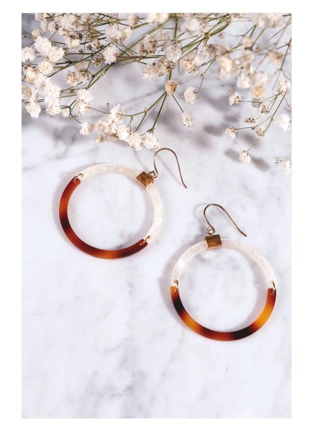 A0201 絕美琥珀石環型耳環
