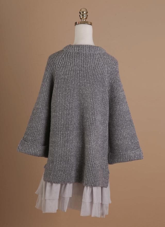 D0276 毛線寬袖紗裙洋裝