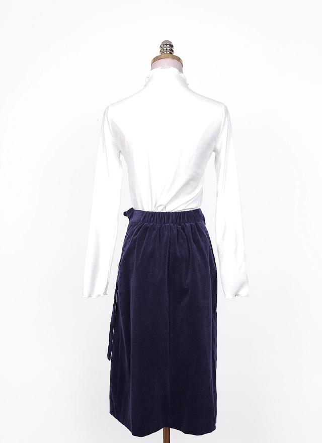 S0469 深藍絨布綁帶片裙