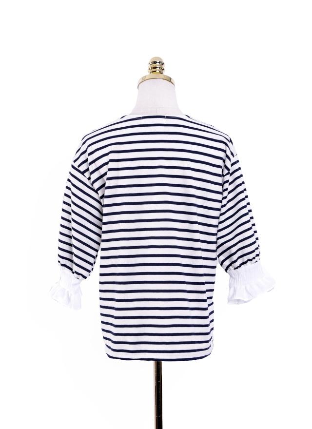 T1036 極簡條紋花袖上衣