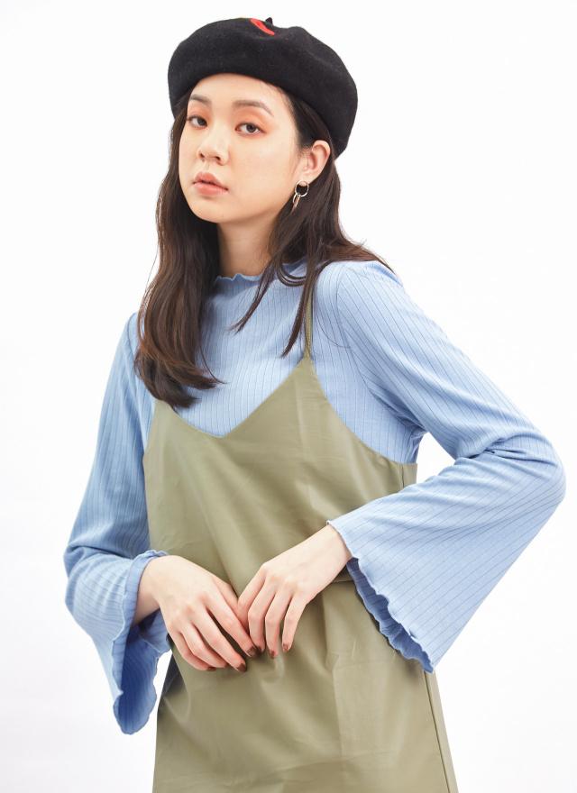 PA0001優雅線紋傘袖上衣(訂製)