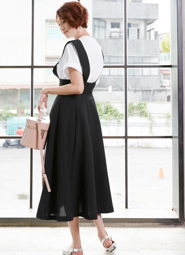 D0621 女人感純色吊帶洋裝(特惠)