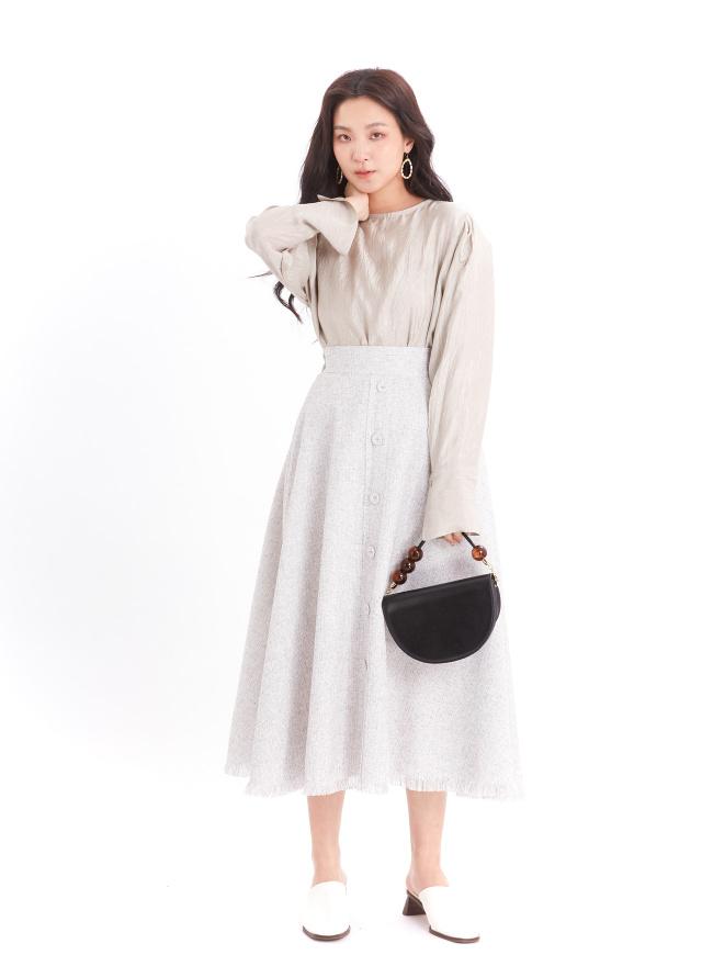S0871萊漾織紋排釦裙(兩色)
