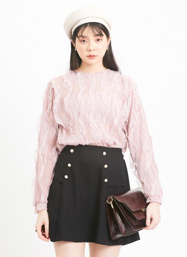 P0312小巧珍珠釦飾褲裙