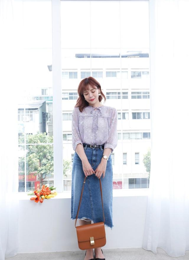 T1075 淑女花卉打結襯衫 (兩色)