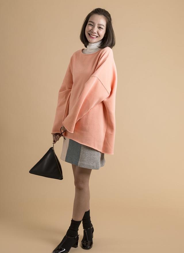 T0382 刷毛甜心橘彩上衣