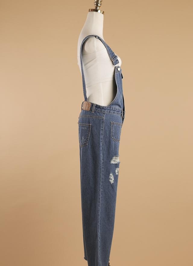 P0118 個性刷破丹寧吊帶寬褲