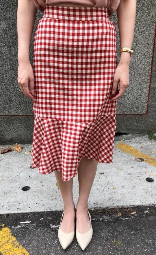 熱夏亮麗格紋拼接裙