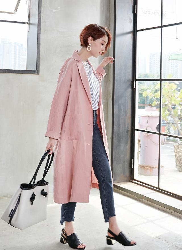 O0327 春心粉紅長版外套(特惠)
