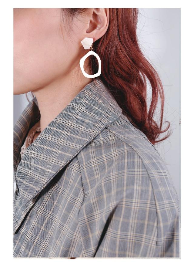 A0207 大理石霧感空心耳環