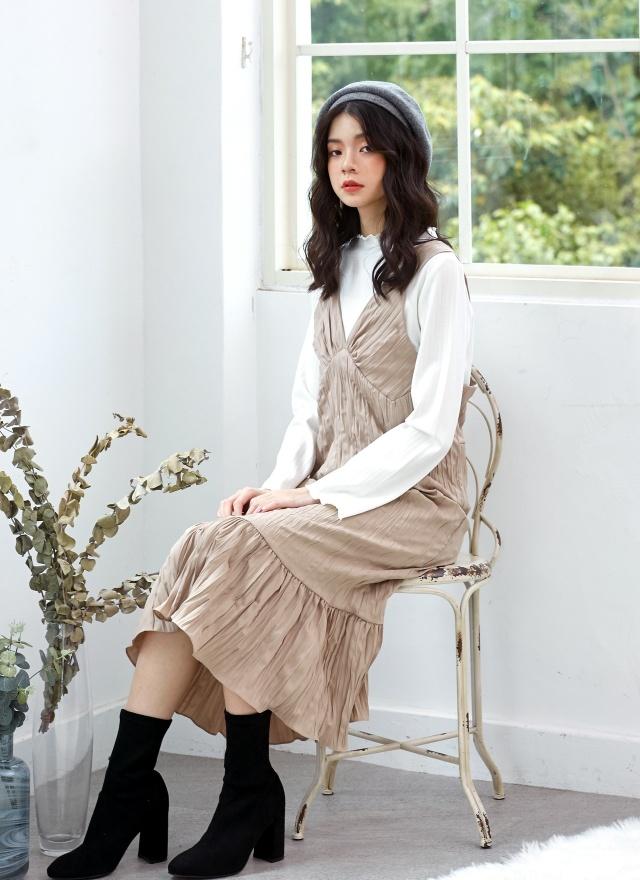 D0703 甜美抓褶背心洋裝