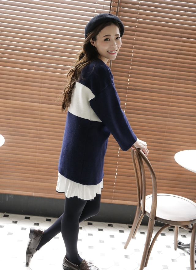 D0301 甜美色塊連身洋裝