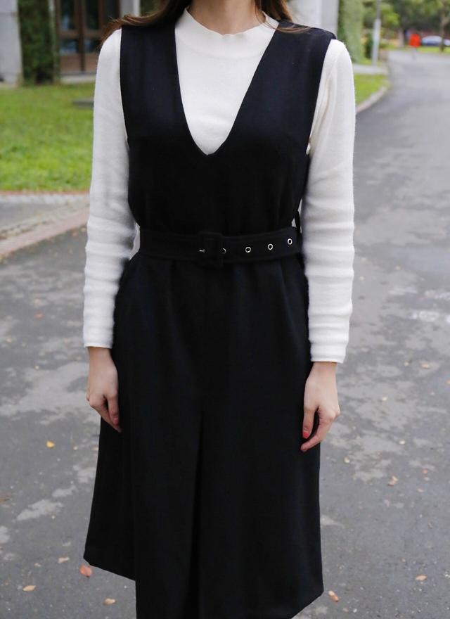 D0299 淑女V字銀扣洋裝