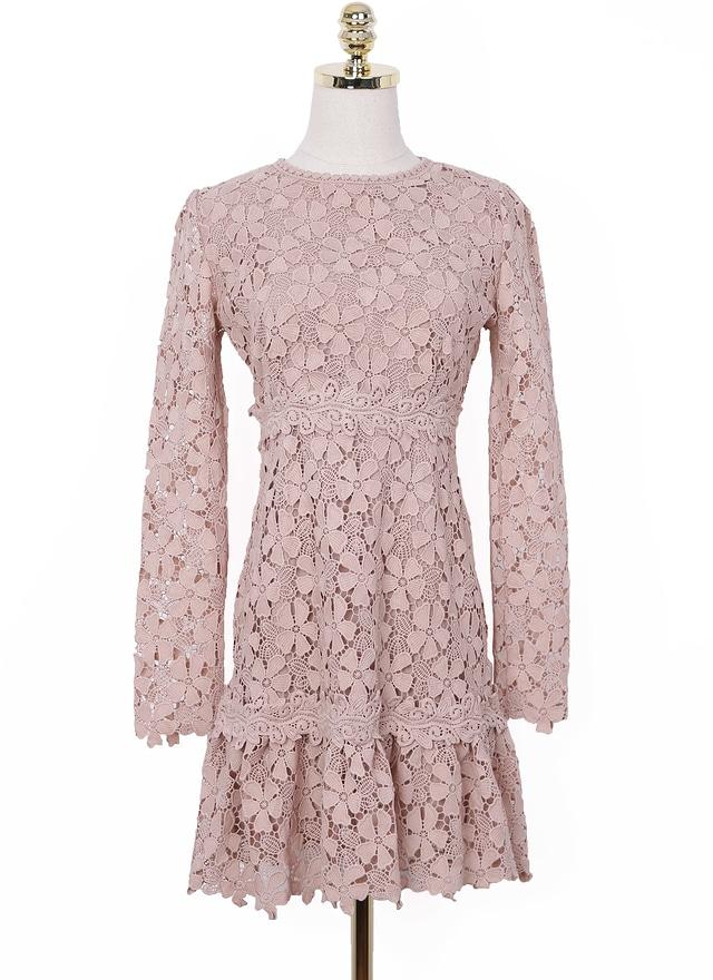 D0540 藕粉花瓣蕾絲洋裝