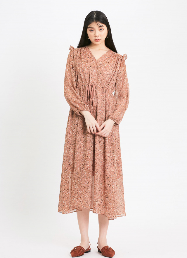 D0965瑰麗波紋V領洋裝