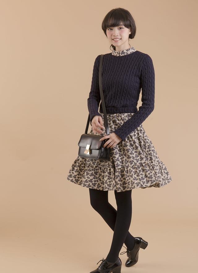 D0286 假兩件針織拼接花色洋裝