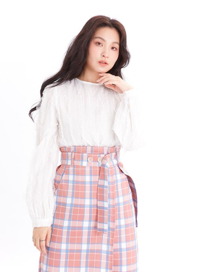 T1514蕾菲圓領造型上衣(兩色)