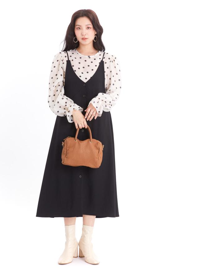 D1067瑪可細肩排釦洋裝(兩色) (特惠)