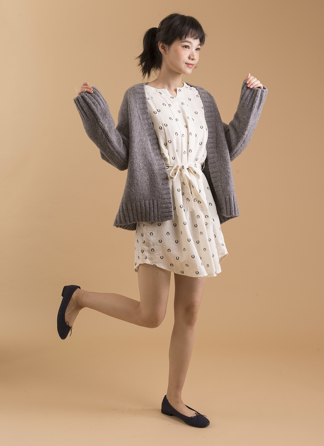 O0115 寬袖設計口袋針織外套
