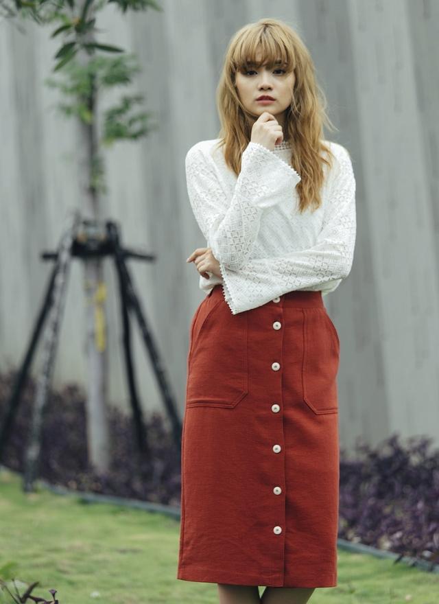 S0340 英倫風格磚紅窄裙