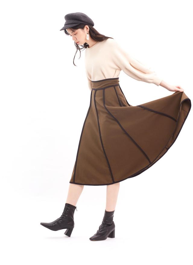 L0005柏花迷樣撞色傘裙(訂製)