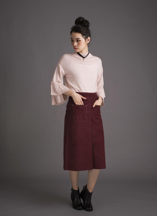 S0238 酒紅麂皮開叉口袋窄裙