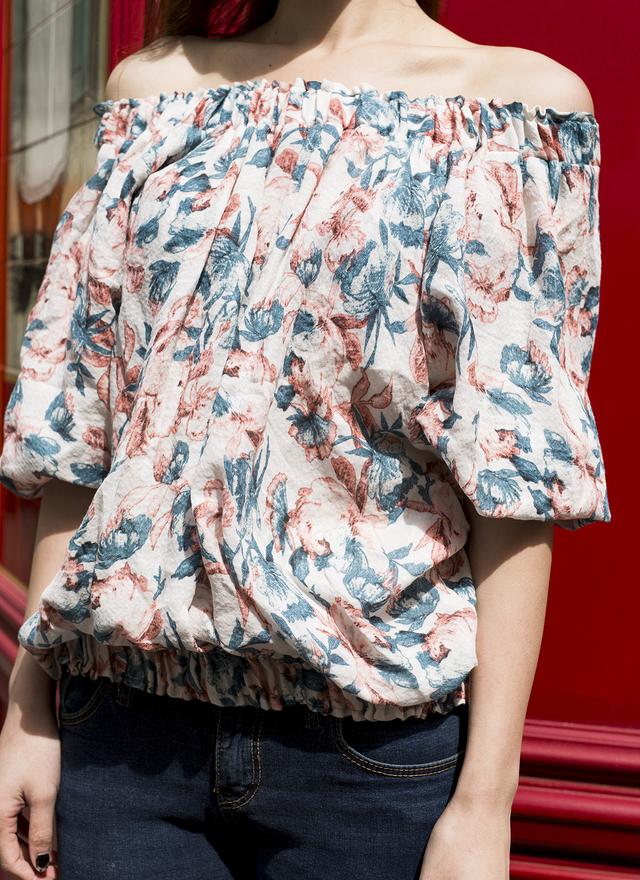 T0304 花都彩繪平肩上衣