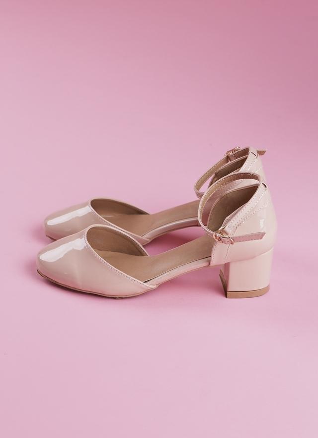 SH0052 春色嫩粉圓頭跟鞋
