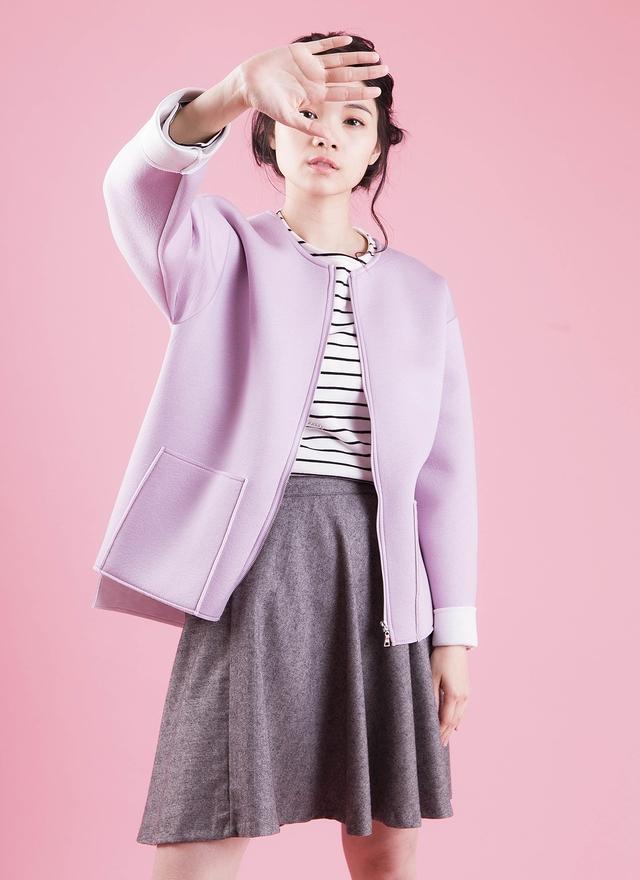 O0149 可愛嫩紫泡棉外套