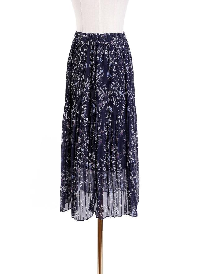 S0539 飄逸藍花細褶長裙