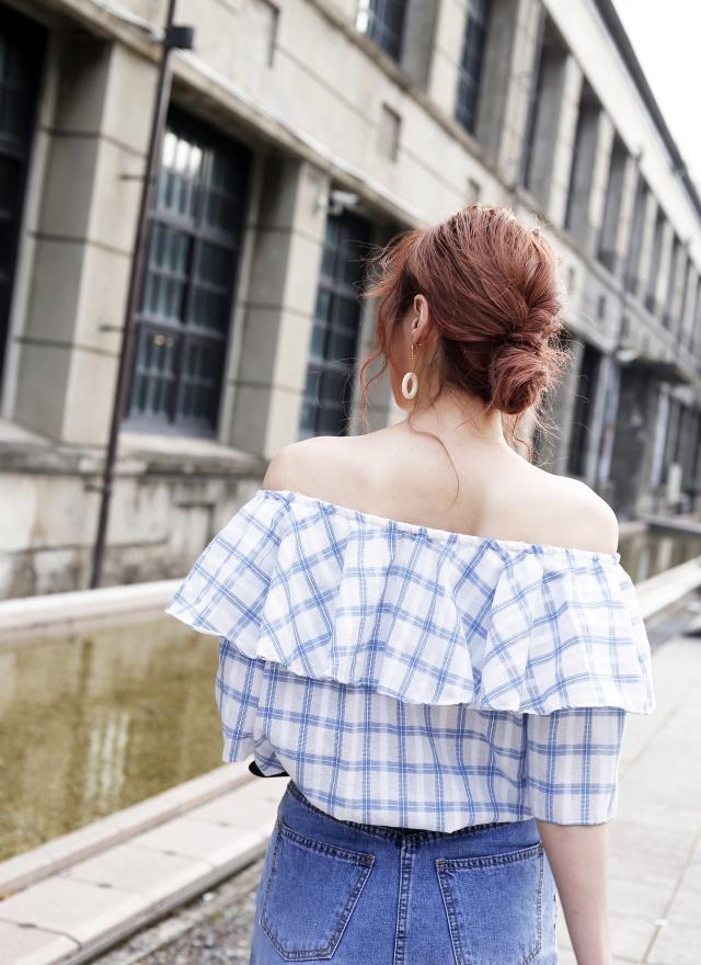 T1026 淑女荷葉邊格紋上衣