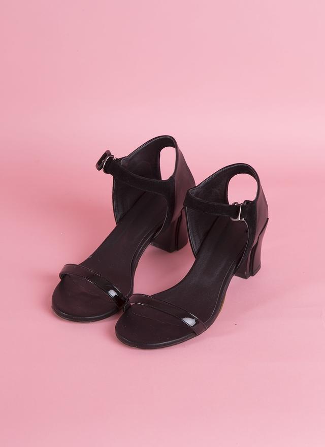 SH0061 混皮繫帶粗跟涼鞋
